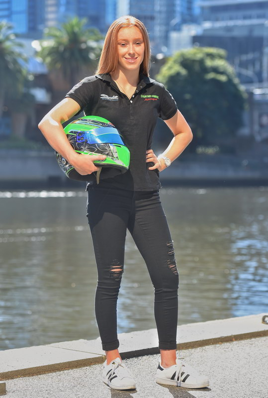 Courtney Prince outside Southbank, she is a 16 year old driver who is a serious contender in the Formula Ford competition. Picture: Tony Gough