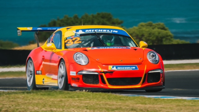 Testing Courtney's Porsche GT3 at Sandown.