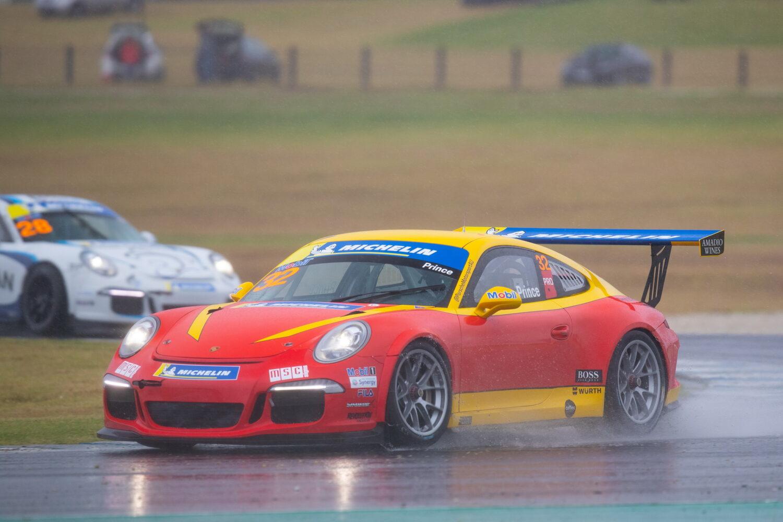 Courtney rounding a wet corner. Porsche Michelin Sprint Challenge at Phillip Island, March 2021.