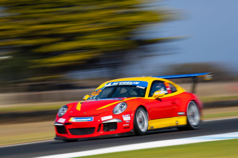 Courtney and her Porsche speeding past. Porsche Michelin Sprint Challenge at Phillip Island, March 2021.